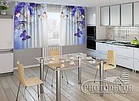 """ФотоШторы для кухни """"Ирисы и бабочки"""" 2,0м*2,9м (2 половинки по 1,45м), тесьма"""