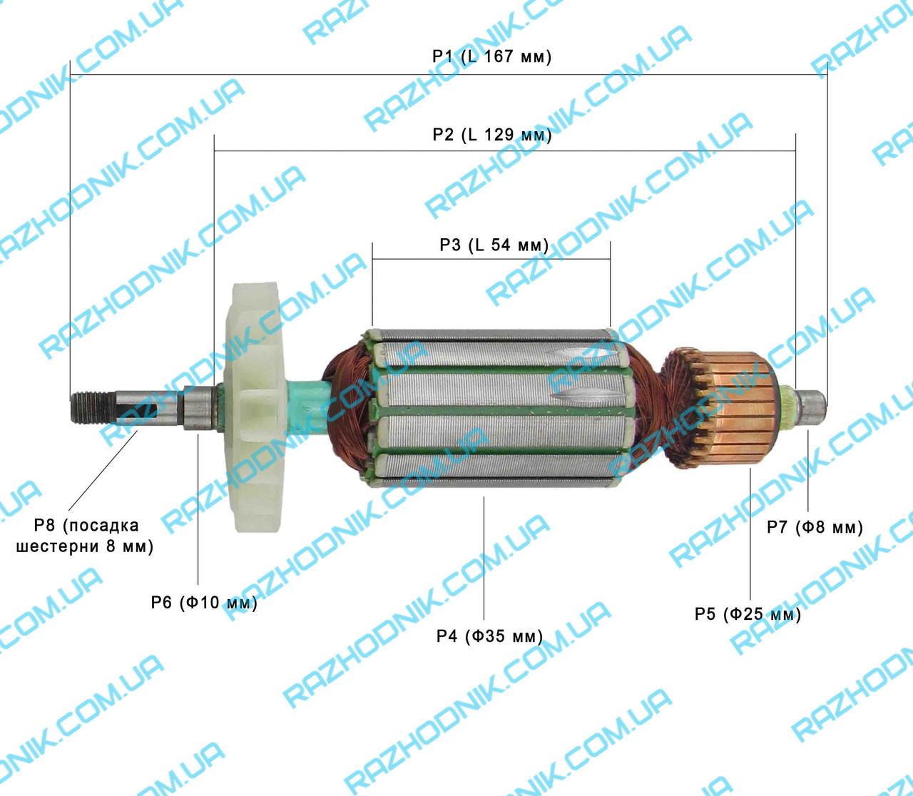 Якорь на болгарку CRAFT-TEC PRO CPAG-1100/Ижмаш Профи ИШМ-1200