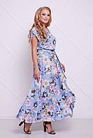 Женское Макси платье с крылышком АНИС голубое (54-60)