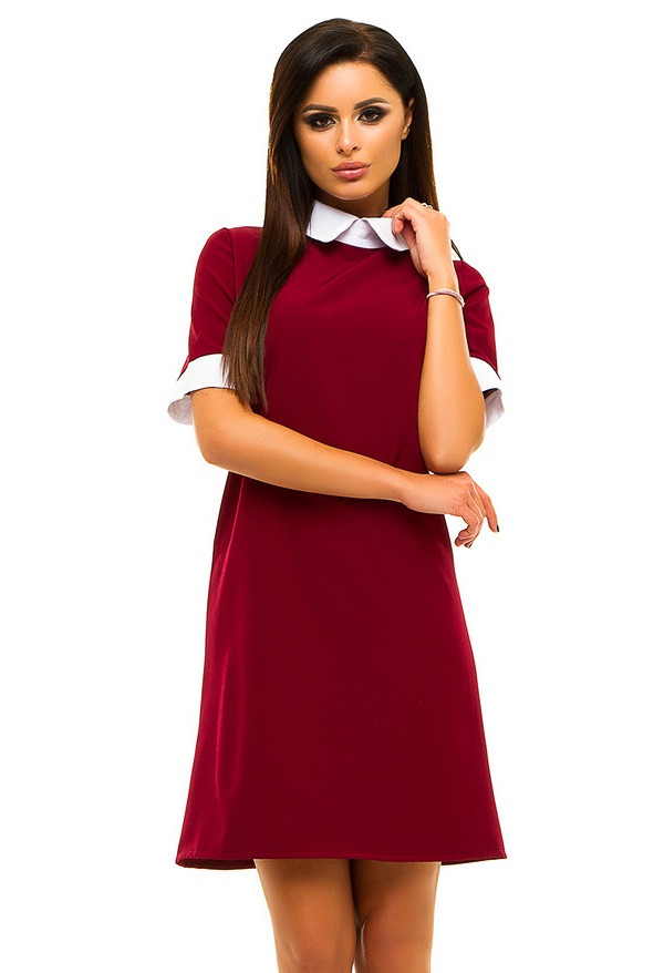 Ж221 Платье с белым воротничком в расцветках размеры 42-48