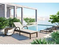 Шезлонг Грация Роял Песок, лежак, мебель для бассейна, мебель для сада, плетеная мебель