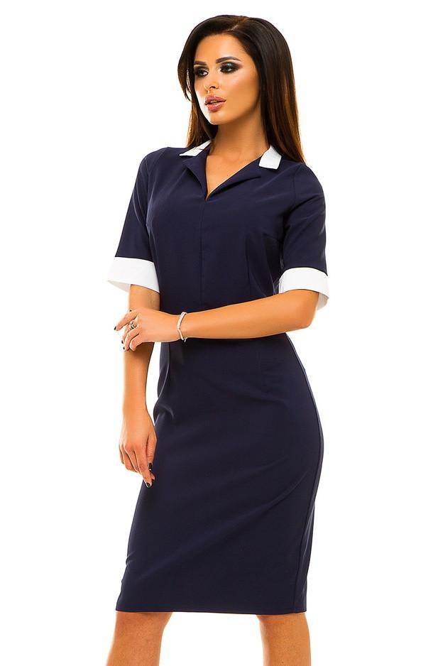 Ж220  Платье с белой окантовкой размеры 42-48