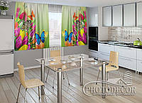 """ФотоШторы для кухни """"Тюльпаны и бабочки"""""""