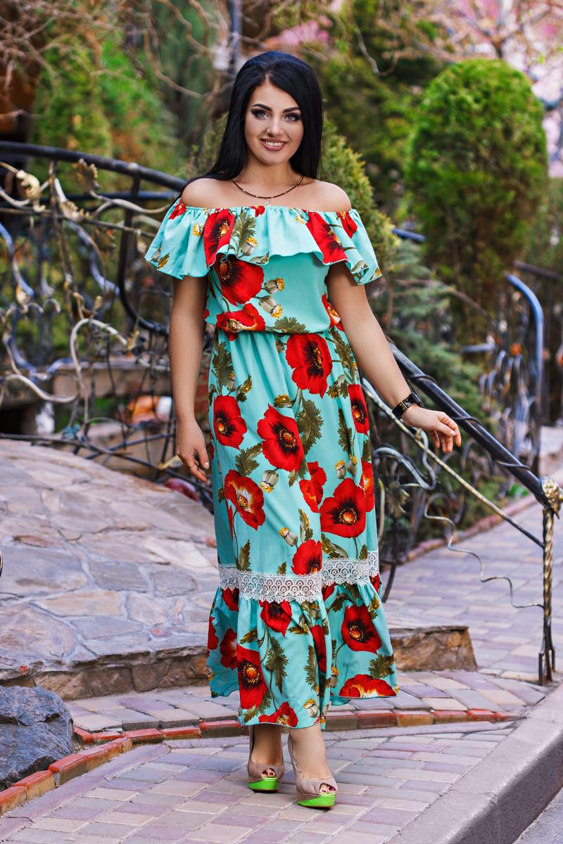 ДС459 Платье летнее длинное  размеры 50-56