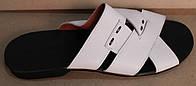 Мужские шлепки кожаные белые, летняя мужская обувь от производителя модель ТР102Л