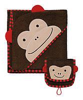 Банный набор: полотенце и мочалка-варежка-игрушка Skip Hop Zoo Hooded Towel и Zoo Mitt Обезьяна