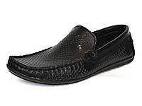 Большой размер. Летние мокасины мужские кожаные с перфорацией черные Rosso Avangard BS Alberto PerfBlack