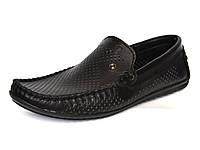 Летние мужские мокасины кожаные перфорированные черные летняя обувь Rosso Avangard Alberto PerfBlack, фото 1
