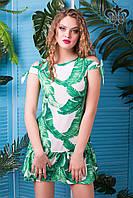 Платье Мальта белый+зеленый