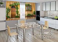 "ФотоШторы для кухни ""Фасад в цветах"" 1,5м*2,5м (2 половинки по 1,25м), тесьма"