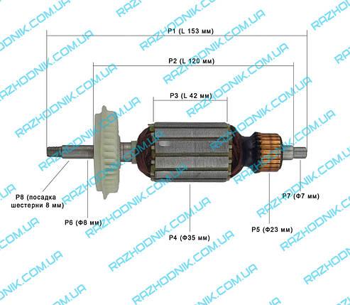 Якорь на болгарку Bosch PWS 7-115,GWS 7-125 (Аналог), фото 2