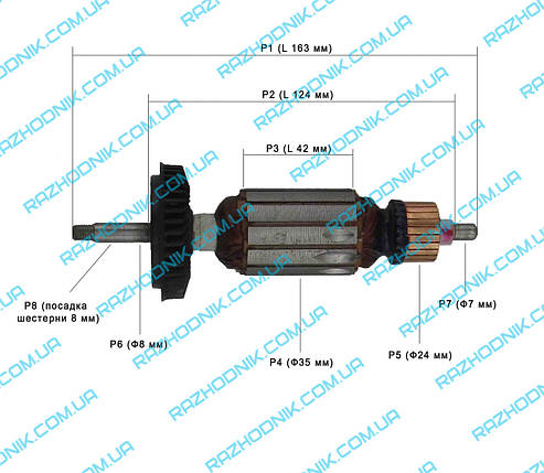 Якорь на болгарку Bosch GWS 10-125,GWS 1000 (Аналог), фото 2