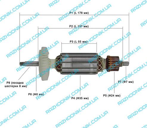Якорь на болгарку Bosch GWS 14-125 CIE (Аналог) , фото 2