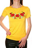 Вышитая женская футболка на трикотажной ткани