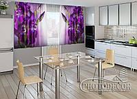 """ФотоШторы для кухні """"Оксамитові іриси"""" 2,0 м*2,9 м (2 половинки по 1,45 м), тасьма"""