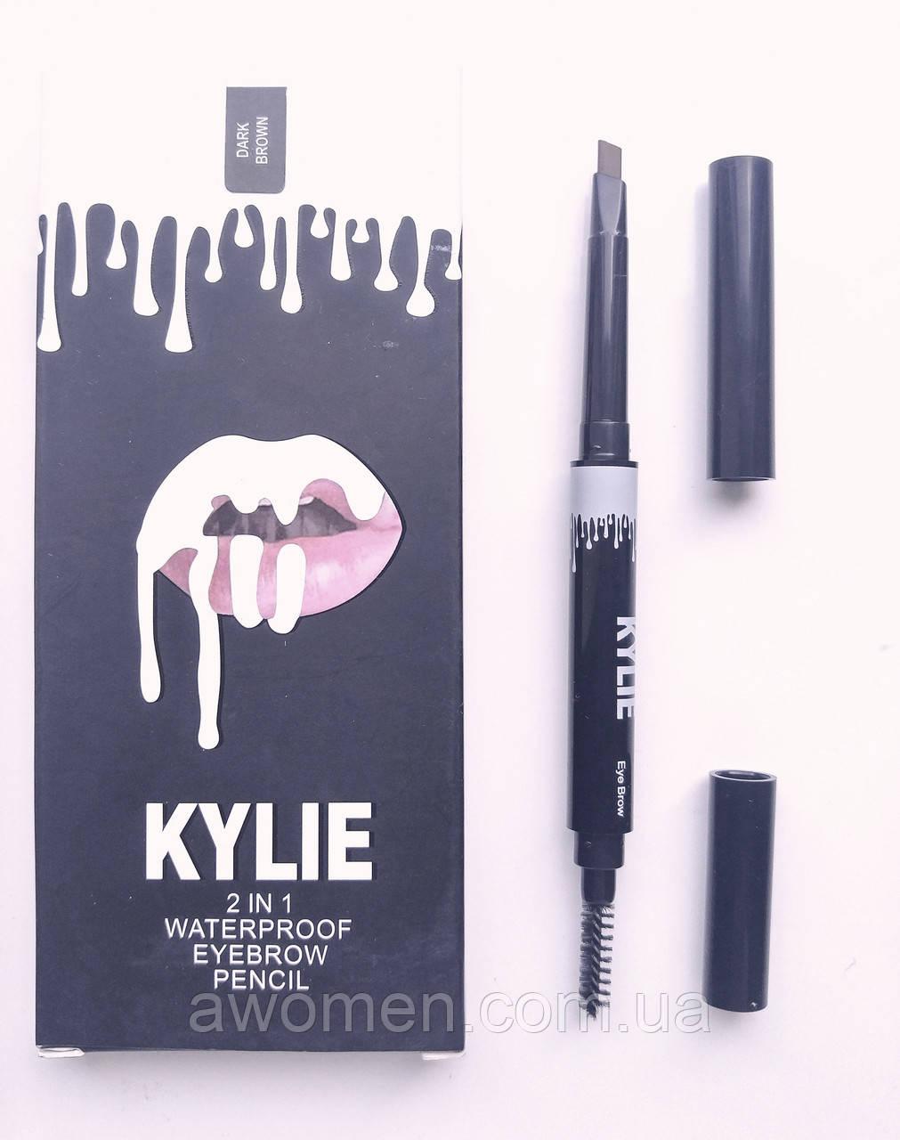 Карандаш для бровей KYLIE 2 in 1 Waterproof  eyebrow pencil (Dark Brown)