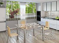 "ФотоШторы для кухни ""Цветок на подоконнике"" 1,5м*2,0м (2 половинки по 1,0м), тесьма"