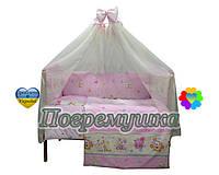 Постельное белье девять предметов Tadik - Веселые зверушки - Розовый