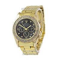 Часы Rolex Quartz Diamonds Date Gold-Black