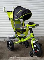 Детский трехколесный велосипед Azimut Crosser One T1 Фара Надувные колеса (Зеленый)