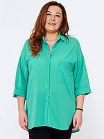 Блузка для полных женщин 295 бирюзовая