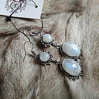Серьги с лунным камнем. Элегантные серьги с лунным камнем в серебре. Индия!