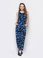 Женский легкий комбинезон джинс с карманами приталенный на резинке 90205