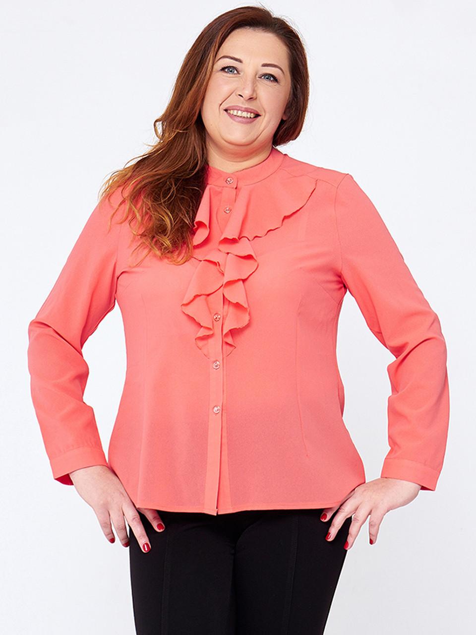 f997944144a Персиковая блузка большие размеры Рейна (XL-5XL) - 440 грн. Купить в ...
