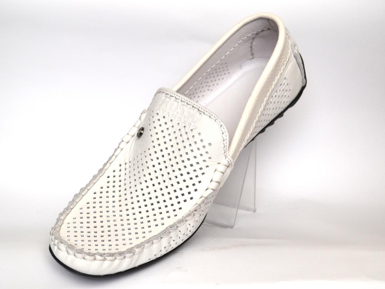 Взуття великих розмірів мжская літні мокасини шкіряні білі перфоровані Rosso Avangard BS PerfWhite