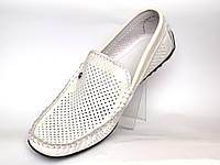 Взуття великих розмірів мжская літні мокасини шкіряні білі перфоровані Rosso Avangard BS PerfWhite, фото 1