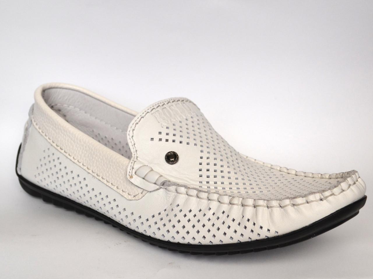 Летние мокасины мужские кожаные белые перфорированные обувь Rosso Avangard M4 PerfWhite