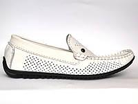 Обувь подросток. Летние мокасины на мальчик кожаные белые натуральные перфорированные Rosso Avangard PerfWhite