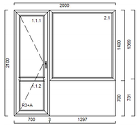 Балконний блок VEKA 2100*2000