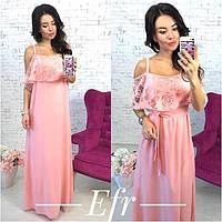 Женское длинное платье цвета: ментол, персик, молоко  пояс в наборе ФР181