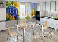 """ФотоШторы для кухні """"Квіти"""" 1,5 м*2,5 м (2 половинки по 1,25 м), тасьма"""