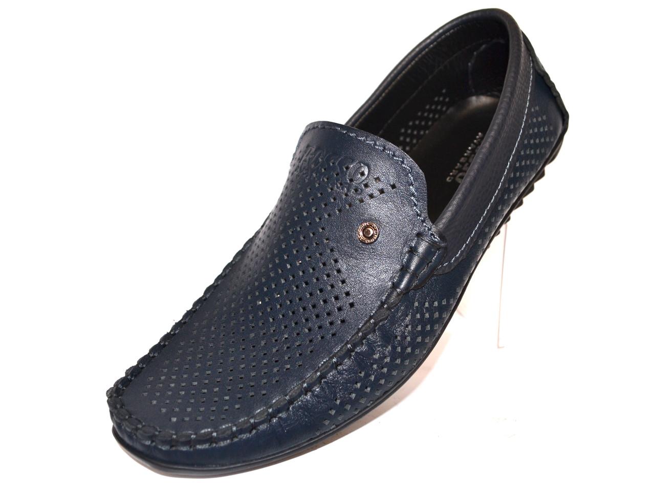Летние мужские мокасины кожаные перфорированные синие летняя обувь Rosso Avangard Alberto PerfBlu