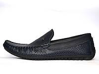 Обувь подросток Летние мокасины на мальчика кожаные синие сеточка натуральные Rosso Avangard mS PerfBlu Fly