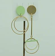 Бижутерия асимметричная- серьги. Светло зелёные симметричные серьги для молодёжи 3031