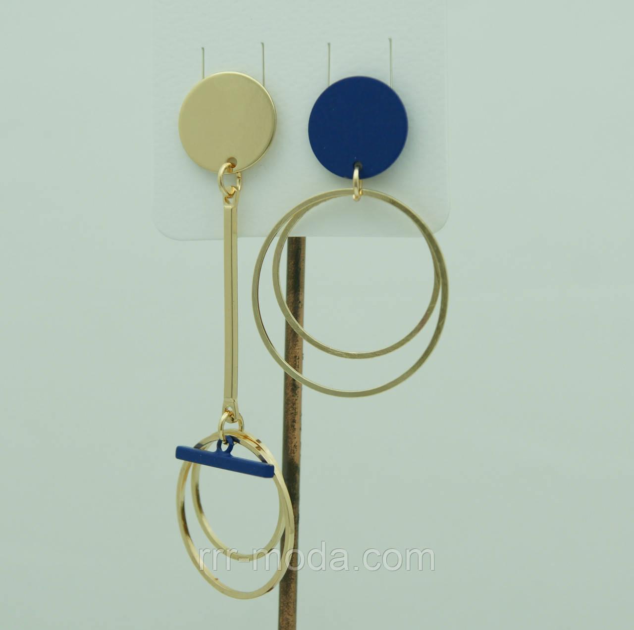 Асимметричная бижутерия - серьги. Синие асимметричные серьги для молодёжи 3033
