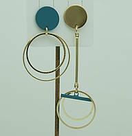 Асимметричные украшения - серьги. Голубые асимметричные серьги для молодёжи 3034