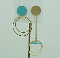 Асимметричные женские украшения - серьги. Бирюзовые асимметричные серьги для молодёжи 3035