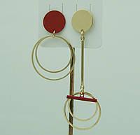 Женские украшения асимметрия - серьги. Красные асимметричные серьги для молодёжи 3036