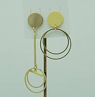 Женские украшения - серьги. Жёлтые асимметричные серьги для молодёжи 3037