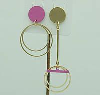 Женская бижутерия- серьги. Розовые асимметричные серьги 3038