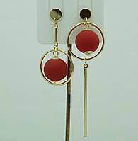 Необычные украшения- модные серьги. Асимметричные круглые серьги с шариками 3042