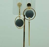 Необычная бижутерия- модные серьги. Асимметричные круглые серьги с шариками 3043