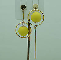 Необычные желтые серьги. Асимметричные круглые серьги с шариками 3044