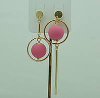 Необычные розовые серьги. Асимметричные круглые серьги с шариками 3045