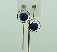 Необычные синие серьги. Асимметричные круглые серьги с шариками 3046