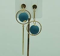 Необычные голубые серьги. Асимметричные круглые серьги с шариками 3047